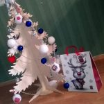 Decorated plywood Christmas tree